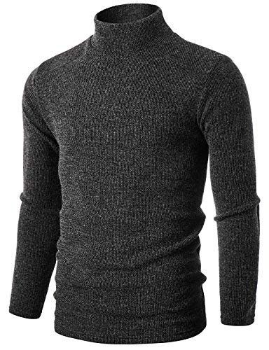 GIVON Mens Slim Fit Long Sleeve Narrow Ribbed Raglan Mock Neck Pullover Sweater/DCP159-DARKCHARCOAL-S