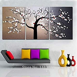 DIU 100% Handmade 3 Pcs Set Abstract White Tree Oil Painting On Canvas Picture Home Wall Decoration Art Modern For Living ...
