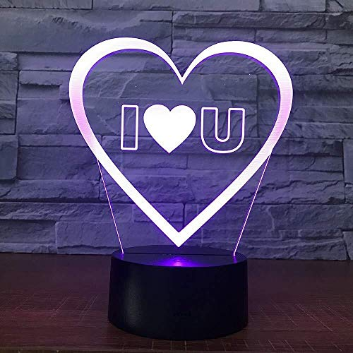 QB Creatief nachtlampje 3D illusie cartoon, Ik hou van je Zoete Lover Hart Ballon 3D LED USB Lamp Romantische Ative Kleur ful Nachtlampje Vriendin Jubileum Party Gift