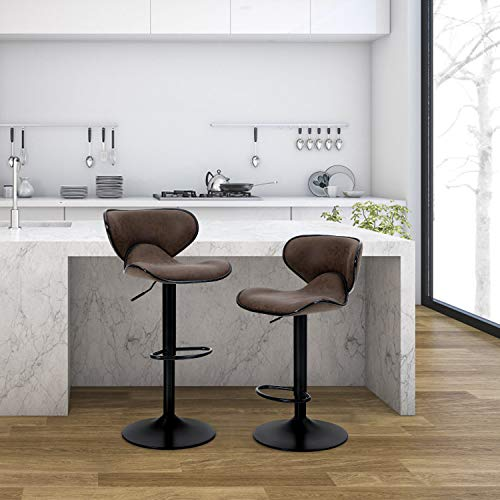 PHI VILLA Bar Stools Set of 2,Adjustable Counter Height Bar Stools with Footrest and Modern Back for Living Room,and Kitchen,PU Leather,350 lbs Capacity,Brown