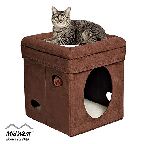 MidWest 137-BR 'The Original' Curious Cat Cube, Cat House / Cat Condo in Brown Faux Suede & Synthetic Sheepskin