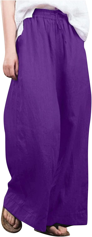 Women Loose Solid Casual Wide Leg Pants Cotton Linen Fashion Trousers GL-154