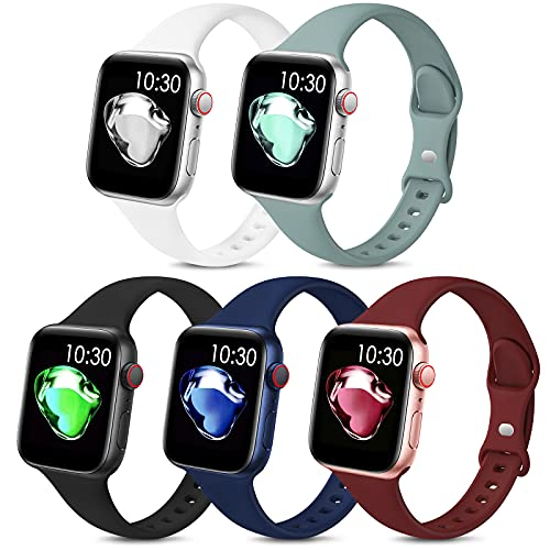 5 Pack Sport Slim Bands Compatible with Apple Watch Bands 38mm 40mm 42mm 44mm Women Men,Thin Silicone Soft Replacement Strap Wristband for iWatch Series 6 5 4 3 2 1 SE(38MM/40MM,Color3)