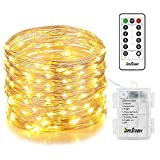 Homestarry Fairy Lights, 33 ft 132 LED, 6 AA Battery Operated Outdoor String Lights Waterproof 8 Modes with Remote, Silver Wire Twinkle Lights for Bedroom Wedding Party Chirstmas , Warm White