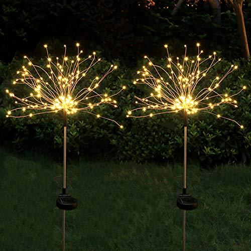2 Stück Feuerwerk Licht Solarlampe für Außen Garten, 150 LED Kupferdraht Lichterketten, Wetterfest Solarleuchten für Garten Balkon Rasen Feld Terrasse Weg (Warmweiß)