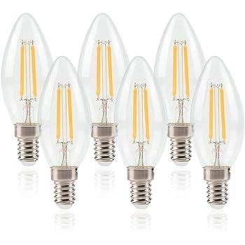 ELINKUME E14 Bombilla LED 6W de Filamento Edison,Equivalente a 50W Blanco cálido 550 lúmenes,Paquete de 6 unidades: Amazon.es: Iluminación