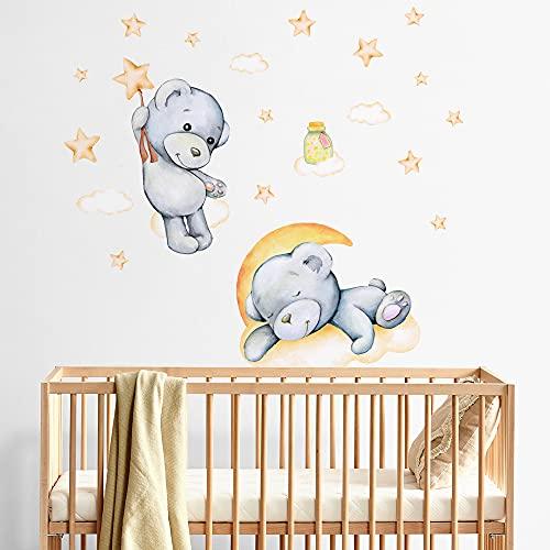 R00576 Adesivi Murali Soffice Effetto Tessuto Orsetto Decorazione Muro Bambino Neonato Nursery Cameretta Asilo Nido Carta da Parati Adesiva