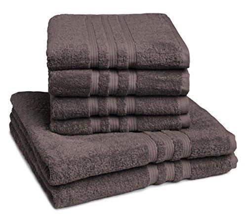 sleepling Handtuch Duschtuch 6er Set (4 x Handtuch 50 x 100 cm / 2 x Duschtuch 70 x 140 cm), 100% Baumwolle (550 gr. / m²), braun