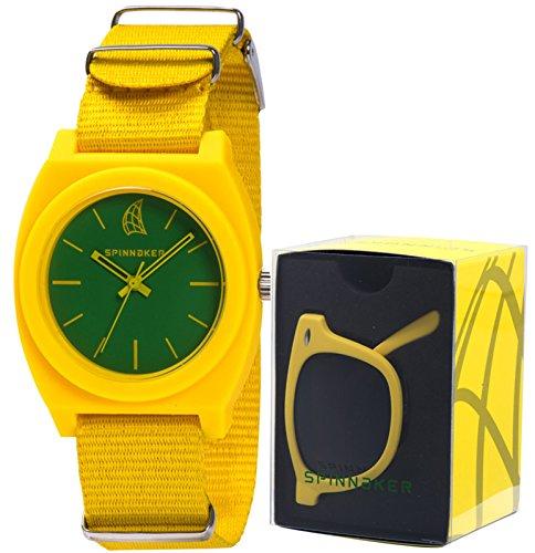 Reloj amarillo para mujer con correa de tela