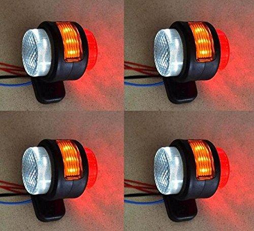 Luci di ingombro laterali, 24 V per rimorchi, per furgoni, camion, roulotte, camper. Colore: arancione, bianco e rosso. La confezione contiene 4 pezzi.