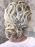 Aegenacess Set of 2 Silver Wedding Hair Pins Purple Rhinestones Clips Bridal Accessories for Brides and Bridesmaids