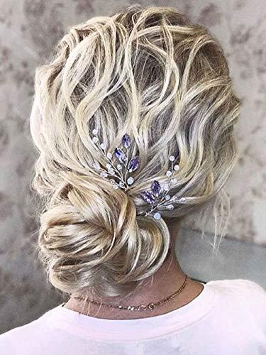 Bridal Wedding Hair Pins, Aegenacess Set of 2 Purple Wedding Pearl Hair Pin, Bride Hair Accessories Hair Pins Clip for Woman