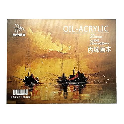 Hmg Professional Oil Painting Paper Book 20 Hojas Acrílico Pintura al óleo Pintura Creativa Lienzo 16k 350x250mm