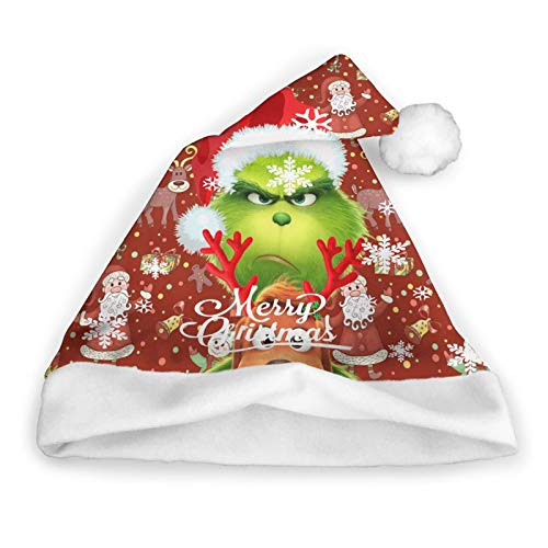 Grinch,How The Grinch Stole Christmas Christmas Hat, Classic Christmas Hats for Adults Santa Hat Unisex Plush Trim for Christmas Party New Year Festive Holiday Party Supplies,Medium