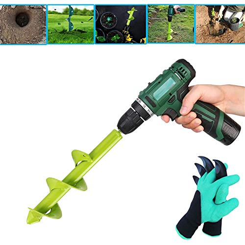 hengguang Auger Spiral Drill Bit for Planting, Garden Drill Planter Post Hole Digger, with Garden Gloves, Used To Dirt/Hard Soil/Clay,fits Any 3/8-Inch Drill 4 * 22cm
