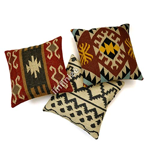 iinfinize Christmas Festival Wool Cushion Cover Wool Jute Neck Cushion Cover Jute Maternity Pillow Cover Living Room Cushion Cover (Multicolor)