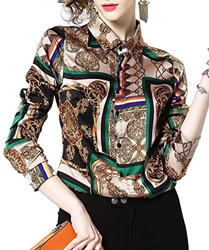 DOVWOER damska elegancka bluzka z kwiatowym i barokowym nadrukiem z długim rękawem na guziki stójka koszula na co dzień topy