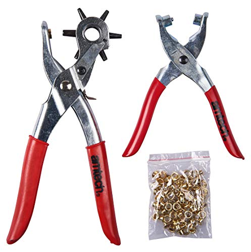 Amtech B1460 Leather Punch and Eyelet Plier Set