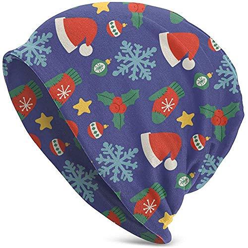 shenhaimojing Sombreros de Navidad Patrón sin Fisuras de Fondo Sombrero de Punto para Hombres Adultos Gorro Unisex Slouchy Cráneos Ligeros Gorro Sombrero de Punto