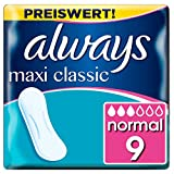 Always Maxi Classic Damenbinden ohne Flügel (9 Stück) sicherer Schutz an allen Tagen der Periode,...