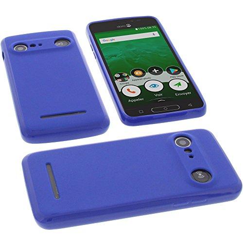 Tasche für Doro 8035 Hülle Gummi TPU Schutz Handytasche blau