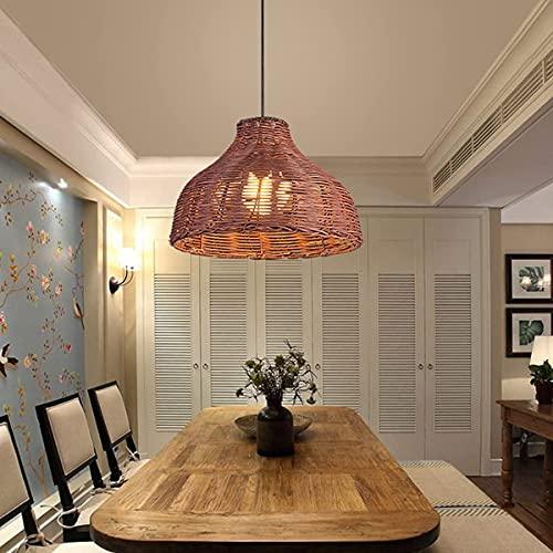 Lámpara de mesa de comedor Lámpara colgante de bambú natural tejido de vidrio de vino diseño pantalla colgante lámpara E27 araña para restaurante sala decoración