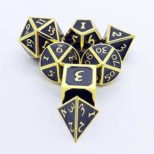 Juan-375 Juego de 7 dados de metal para juegos de mazmorras y dragones y dados de metal Pathfinder para la mayoría de los juegos de mesa (color: amarillo)
