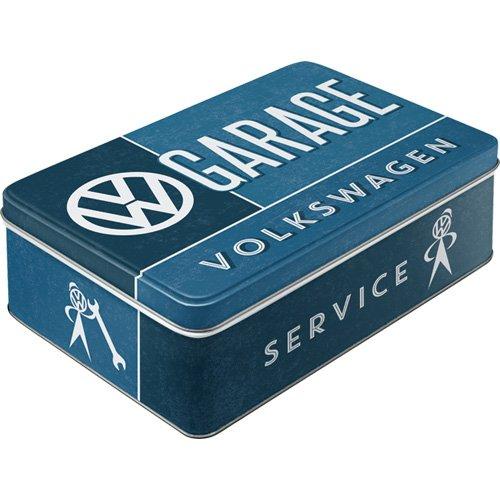 Nostalgic-Art Retro flach Vorratsdose, Blech-Dose mit Deckel, Volkswagen Garage, 2,5 l