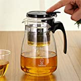 CHENKLE Tee-Kunst-Glas-Teekanne, 1000 ml Borosilikat-Tee-Topf, mit hitzebeständigem...