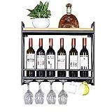 ZHONGHUA botellero Vino Resistente Montaje en la Pared Manteneros de Vino de Hierro de Hierro de Madera sólido. Botellero Independiente (Color : Black, tamaño : 60cm)