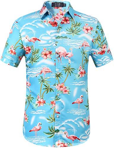 SSLR Herren Hemd Hawaiihemd 3D Gedruckt Flamingos Kurzarm Aloha Freizeit Hemd Button Down Shirt für Strand Reise (X-Large, Blau)
