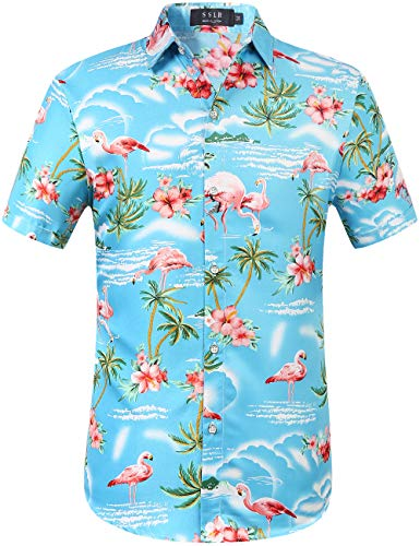 SSLR Men's Flamingos Casual Short Sleeve Aloha Hawaiian Shirt (Large, Blue)