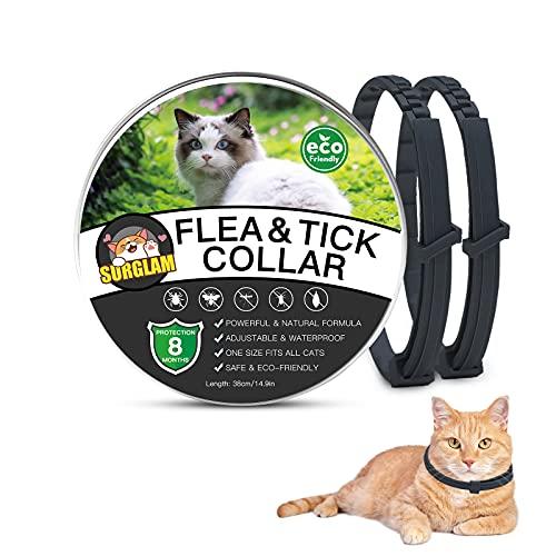 Collare Antipulci e Zecche per Gatti, Collare Antipulci per Gatti Impermeabile Misura Regolabile e Naturale con Protezione di 8 Mesi, pulci e zecche Trattamento Efficace per Gattini (2PC Nero)