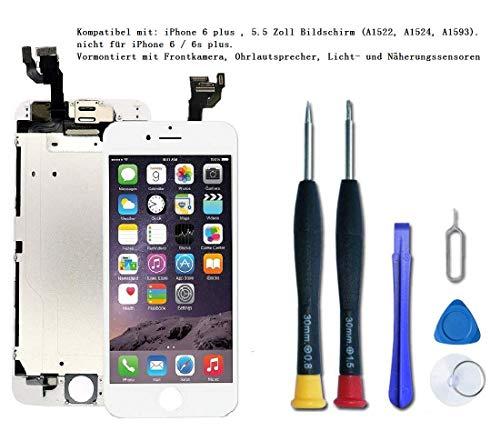 DTLake Kompatibel mit iPhone 6 Plus Display Schwarz,LCD Touchscreen Digitizer Display, Vormontiert mit Frontkamera und Hörmuschel Ersatzbildschirm Komplettes Werkzeug & Reparaturanleitung. (White)
