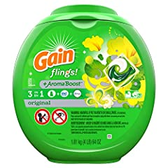 Gain Flings and Tide Pods are America's favorite laundry pacs. 2x the cleaning ingredients vs Gain Original Scent liquid laundry detergent. 6 weeks of freshness from wash until wear. 50% more scent than Gain powder laundry detergent. Regular and HE W...