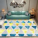 Alfombra Recibidor Interior Alfombras Infantiles Niño Los tapetes del hogar del Dormitorio de la Alfombra geométrica Azul Amarillo Son Lavables a máquina 200X260cm