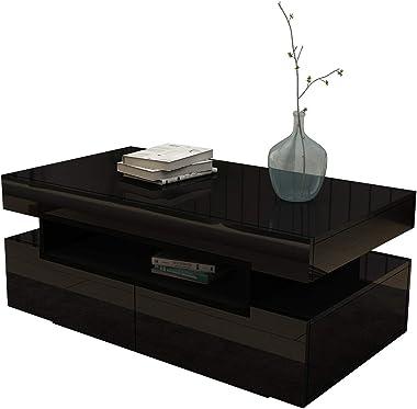 Coffee Table High Gloss 4 Drawers Storage Shelf Wood Living Room Modern Furniture Black