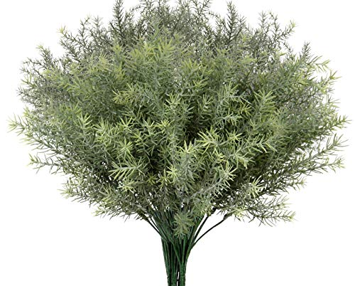 Artificial Rosemary Stems Fake Greenery Plants Bushes Shrubs in Frosted Green for Decor Home Indoor Outdoor Garden 4pcs