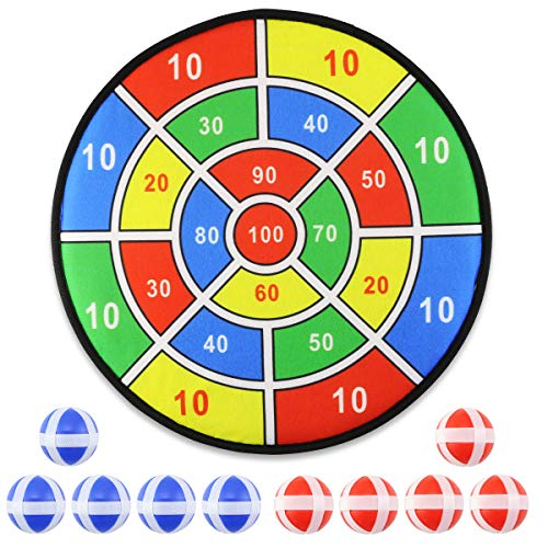 WFPLUS 14 Inch Kids Game Dart Board with 10 Sticky Balls, Safe Dart Game Set with Hook for Children and Adults, Party Game Supplies Birthday Gift