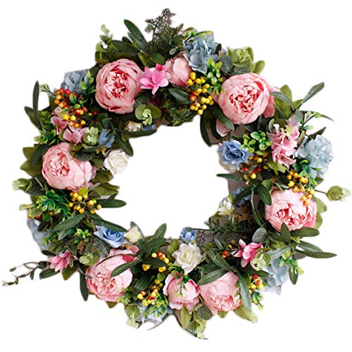 """Pauwer 22"""" Large Pink Peony Flower Wreath with Blue Hydrangeas Artificial Floral Door Wreath Realistic Spring Wreath for Front Door Wedding Window Wall Home Decor (22"""