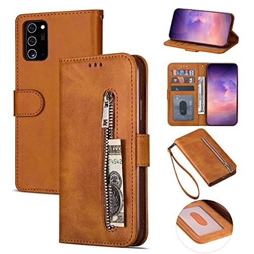 ZTOFERA Samsung A52 Hülle, Magnetisch Folio Flip Wallet Leder Standfunktion Reißverschluss schutzhülle mit Trageschlaufe, Brieftasche Hülle für Samsung Galaxy A52/A52 5G - Braun