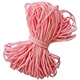 Baby Pink Round Elastic String Cord Earloop Bands for Face Masks Making Supplies Sewing Craft Project Bracelet String Trim for Crafting Thin Soft & Stretchy 20YARD