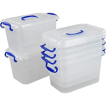 Fosly Cajas Transparente de Plástico, Caja de Almacenaje con Tapas, Paquete de 6: Amazon.es: Hogar