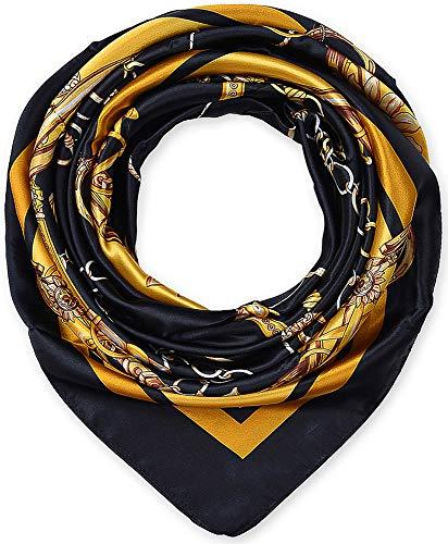 Large Square Satin Silk Like Lightweight Scarfs Hair Sleeping Wraps for Women Black Chains