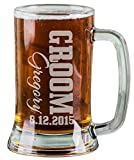 16 Oz Groom Groomsmen Beer Mug Wedding Party Gifts for Groomsman Beer Glass Etched Engraved Custom with Name Wedding Title and Date for Wedding Bachelor Bridal Party Gift Favor Idea Quantity Discounts