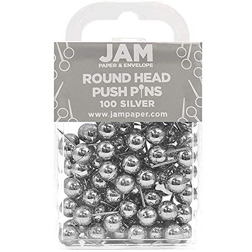 JAM PAPER Colorful Push Pins - Round Head Map Thumb Tacks - Silver PushPins - 100/Pack