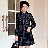 QUNLIANYI Abendkleid Abiballkleid Blue Plaid Short Jacke Ärmelloses Westenkleid Damen-Taschenjacken-Set Damenkleid M.