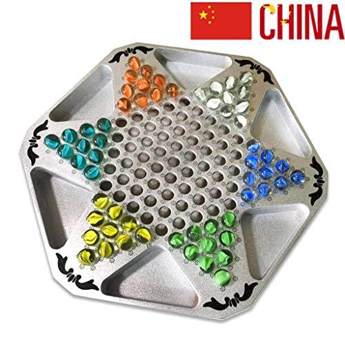 Kaikai Chinese Checkers Mármoles Juego de Mesa de ajedrez, 28 X 32 CM for Padres e Hijos Viaje Interactivo al Aire Libre Juegos de la Familia de Colores Mármoles (Color : Glass Marbles )