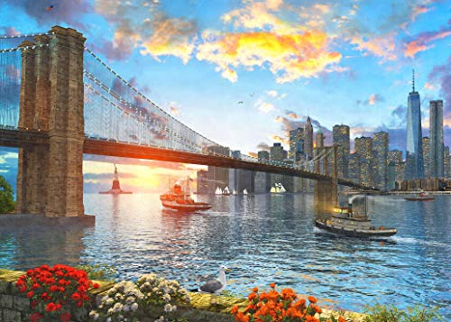 WUUNDENTOY Jigsaw Puzzle Brooklyn Bridge at Sunset 1,500 PC Gold Edition 12+ Years Old (2316)