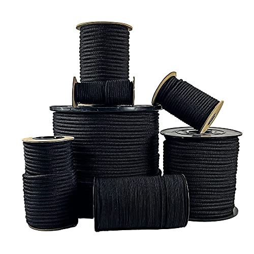 """SGT KNOTS Diamond Grip Elastic Bungee Cord - 100% Stretch and Shock Absorbent for Camping, Kayak Deck, Crafting (1/4"""" x 10ft, Black)"""